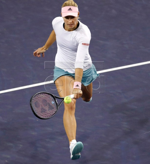 Angelique Kerber of Germany in action against Aryna Sabalenka of Belarus during the BNP Paribas Open tennis tournament at the Indian Wells Tennis Garden in Indian Wells, California, USA, 12 March 2019. The men's and women's final will be played, 17 March 2019. EPA-EFE/JOHN G. MABANGLO
