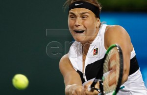 Aryna Sabalenka of Belarus in action against Angelique Kerber of Germany during the BNP Paribas Open tennis tournament at the Indian Wells Tennis Garden in Indian Wells, California, USA, 12 March 2019. The men's and women's final will be played, 17 March 2019. EPA-EFE/LARRY W. SMITH