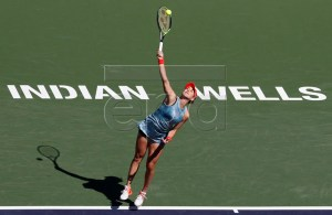 Belinda Bencic of Switzerland in action against Karolina Pliskova of Czech Republic during the BNP Paribas Open tennis tournament at the Indian Wells Tennis Garden in Indian Wells, California, USA, 14 March 2019. The men's and women's final will be played, 17 March 2019. EPA-EFE/LARRY W. SMITH