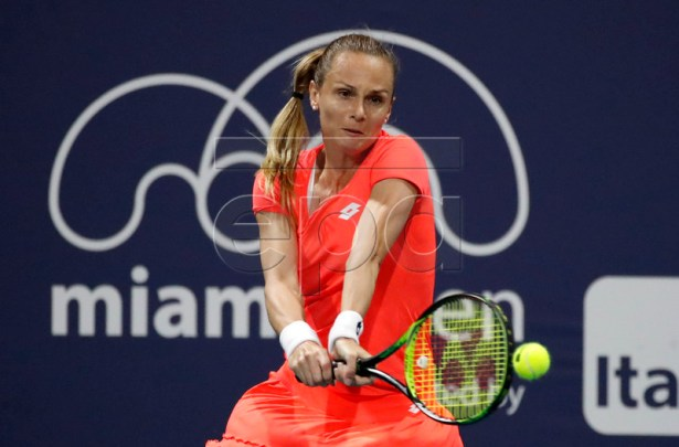 Magdalena Rybarikova of Slovakia in action against Julia Gorges of Germany during their match at the Miami Open tennis tournament in Miami, Florida, USA, 21 March 2019.  EPA-EFE/JASON SZENES
