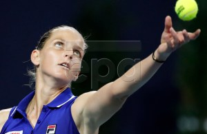 Karolina Pliskova of the Czech Republic in action against Simona Halep of Romania during their women's semifinals match at the Miami Open tennis tournament in Miami, Florida, USA, 28 March 2019. EPA-EFE/JASON SZENES