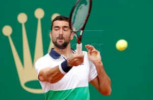 Marin Cilic of Croatia in action during his second round match against Guidi Pella of Argentina at the Monte-Carlo Rolex Masters tournament in Roquebrune Cap Martin, France, 16 April 2019. EPA-EFE/SEBASTIEN NOGIER