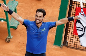 Fabio Fognini of Italy celebrates winning against Rafael Nadal of Spain during their semi final match at the Monte-Carlo Rolex Masters tournament in Roquebrune Cap Martin, France, 20 April 2018. EPA-EFE/SEBASTIEN NOGIER