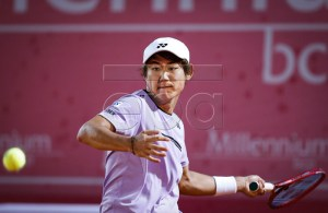 Hoshihito Nishioka of Japan in action during his match against Frances Tiafoe of the USA at the Estoril Open Tennis tournament , in Cascais, near Lisbon, Portugal, 02 May 2019. EPA-EFE/RODRIGO ANTUNES