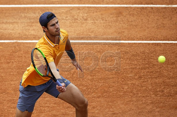 Karen Khachanov of Russia in action against Lorenzo Sonego of Italy during their men's singles first round match at the Italian Open tennis tournament in Rome, Italy, 13 May 2019.  EPA-EFE/RICCARDO ANTIMIANI