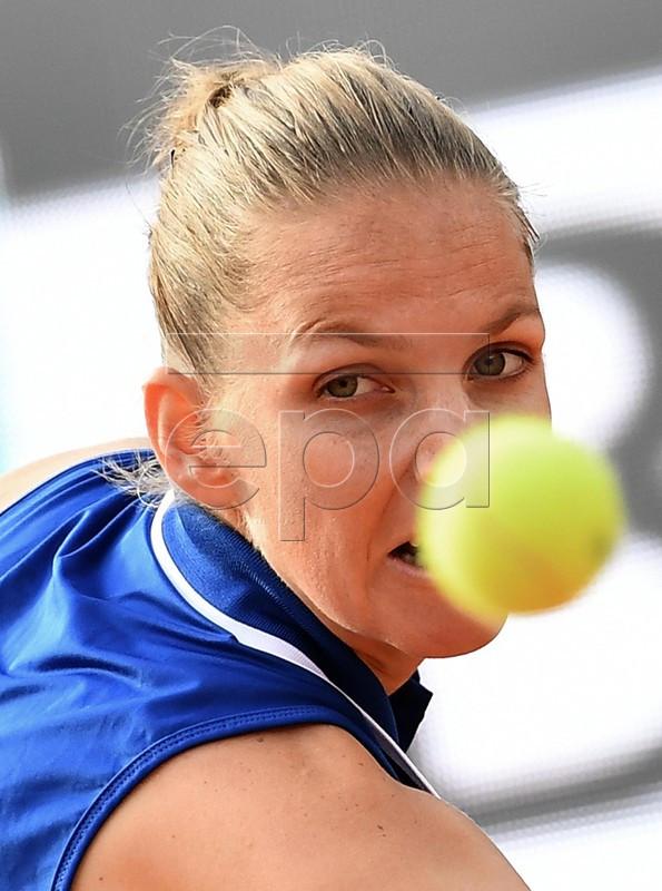 Karolina Pliskova of Czech Republic in action during her women's singles second round match against Ajla Tomljanovic of Australia at the Italian Open tennis tournament in Rome, Italy, 14 May 2019.  EPA-EFE/ETTORE FERRARI