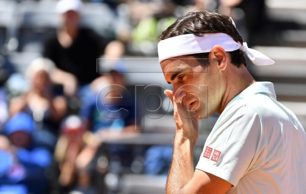Roger Federer of Switzerland reacts during his men's singles match against Joao Sousa of Portugal at the Italian Open tennis tournament in Rome, Italy, 16 May 2019. EPA-EFE/ETTORE FERRARI