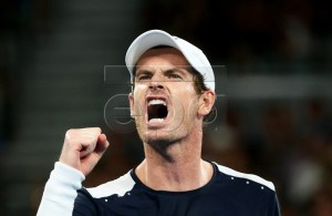 Andy Murray of Britain reacts during his first round match against Roberto Bautista Agut of Spain at the Australian Open tennis tournament in Melbourne, Australia, 14 January 2019. EPA-EFE/HAMISH BLAIR AUSTRALIA AND NEW ZEALAND OUT