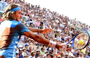 Stefanos Tsitsipas of Greece plays Stan Wawrinka of Switzerland during their men?s round of 16 match during the French Open tennis tournament at Roland Garros in Paris, France, 02 June 2019. EPA-EFE/CAROLINE BLUMBERG