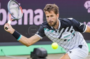 Robin Haase of the Netherland in action Cristian Garin of Chile during their Round of 16 match at the Rosmalen Tennis tournament in Rosmalen, Netherlands, 13 June 2019. EPA-EFE/KOEN SUYK