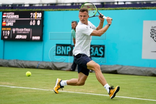 Marton Fucsovics of Hungary during his round 32 match against Spain's Feliciano Lopez at the Fever Tree Championship at Queen's Club in London, Britain, 19 June 2019. EPA-EFE/WILL OLIVER