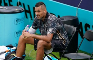 Australia's Nick Kyrgios reacts during his Round of 32 match against Spain's Roberto Carballes Baena at the Fever Tree Championship at Queen's Club in London, Britain, 20 June 2019. EPA-EFE/WILL OLIVER