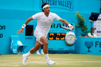 Spain's Feliciano Lopez in action against Gilles Simon of France during their final match at the Fever Tree Championship at Queen's Club in London, Britain, 23 June 2019. EPA-EFE/WILL OLIVER