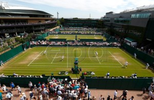 General view of outside courts during third round action at the Wimbledon Championships at the All England Lawn Tennis Club, in London, Britain, 05 July 2019. EPA-EFE/NIC BOTHMA EDITORIAL USE ONLY/NO COMMERCIAL SALES