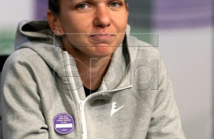 A handout photo made available by the AELTC shows Simona Halep of Romania talking to media in her press conference following the win in the Women's Singles final match against Serena Williams of the USA during the Wimbledon Championships at the All England Lawn Tennis Club, in London, Britain, 13 July 2019. EPA-EFE/AELTC / Adam Warner EDITORIAL USE ONLY/NO COMMERCIAL SALES