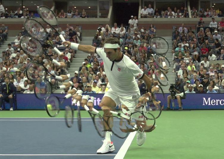 Roger Federer backhand swing path