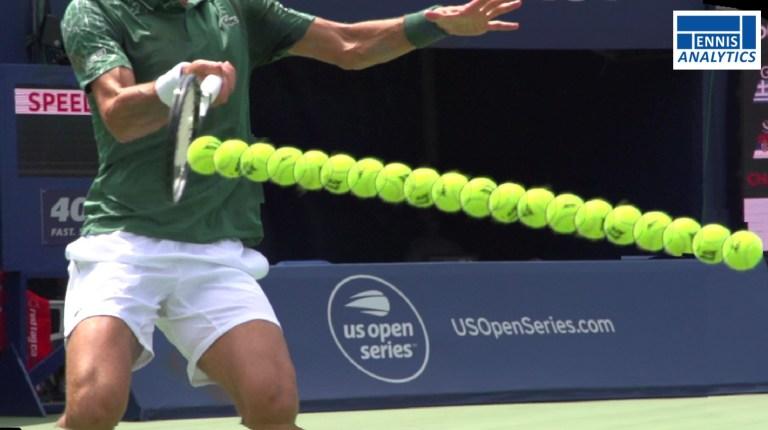 Novak Djokovic's forehand contact.