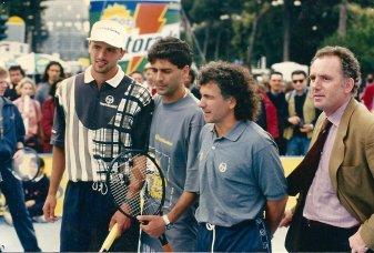 Tennis in Piazza, Roma: il coach Bata con Goran Ivanisevic