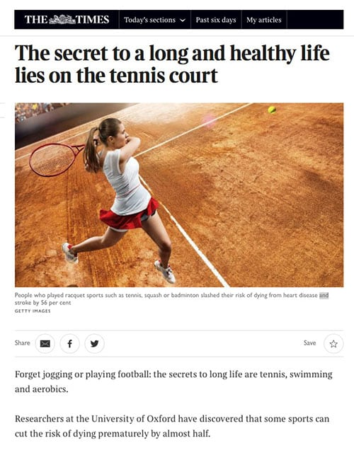 Tennis may be the key to a long healthy life - article from The Times