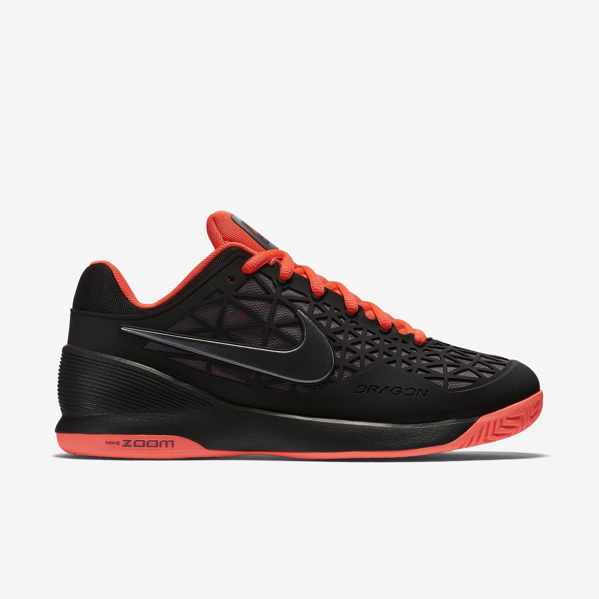 Nike Kids Zoom Cage 2 Tennis Shoes Black Hot Lava