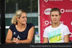 Eugenie Bouchard (r) and Aleksandra Wozniak (l)