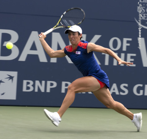 Schiavone runs for a forehand