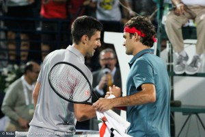 Djokovic and Federer shake hands