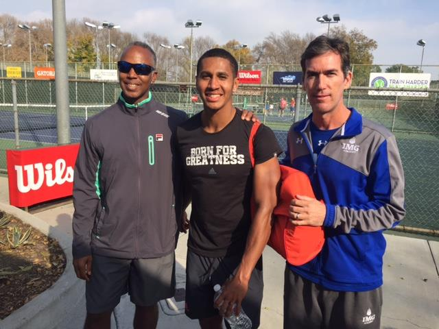 USTA Director of Player Development Martin Blackman, Michael Mmoh and his IMG Academy coach Glenn Weiner. Photo by Steve Pratt
