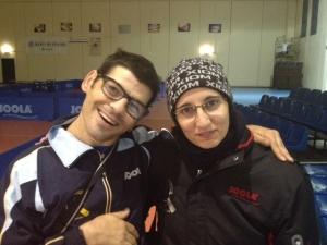 Angelina Papadaki con il pongista paralimpico Mauro Mereu