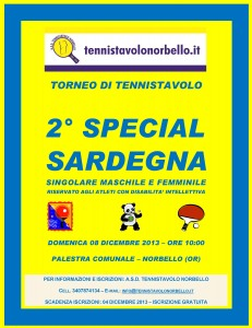 Locandina 2° Torneo Tennistavolo Special Norbello 08-12-2013