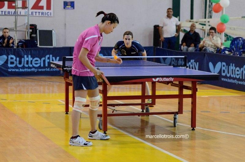 Tian Jing contro Conciauro (Foto Marcello Trois)