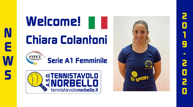 Welcome Chiara Colantoni! Tennistavolo Norbello 2019/2020
