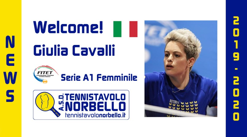 Welcome Giulia Cavalli! Tennistavolo Norbello 2019/2020
