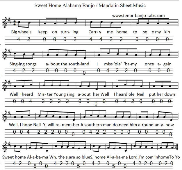 Again, these guitar parts are split into chords then a riff as shown. Sweet Home Alabama Sheet Music Tenor Banjo Tabs