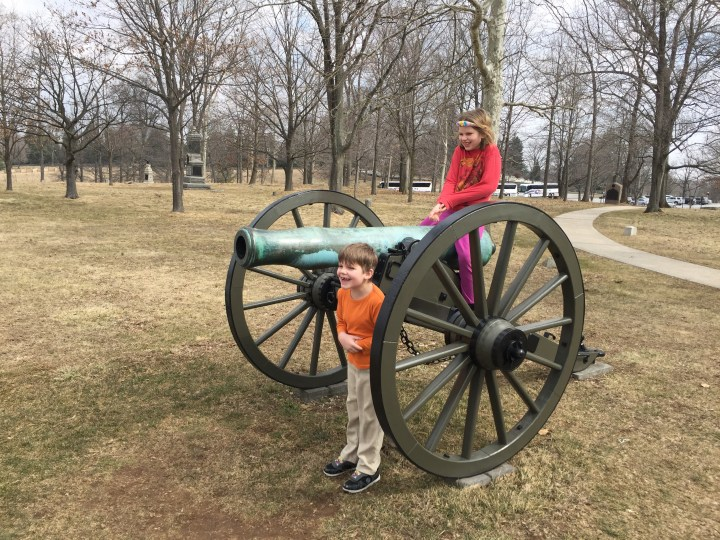 Kids on a Cannon at Gettysburg