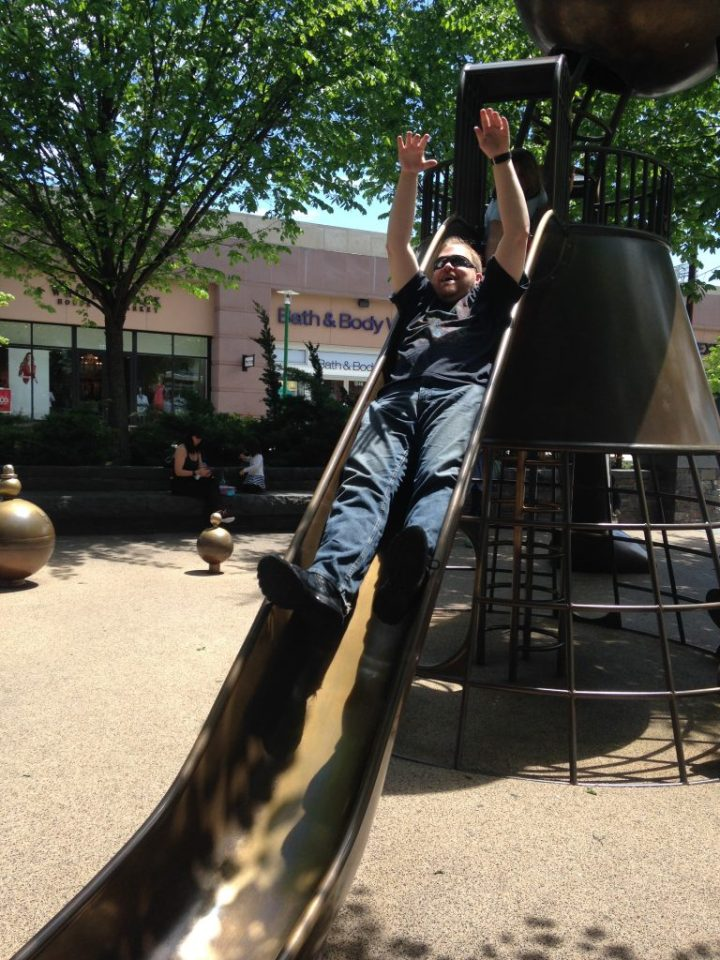 Grown Man Popping Out of Slide