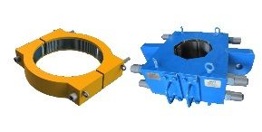 Gripper type conductor clamp, jackup rig drilling conductor support, subsea construction