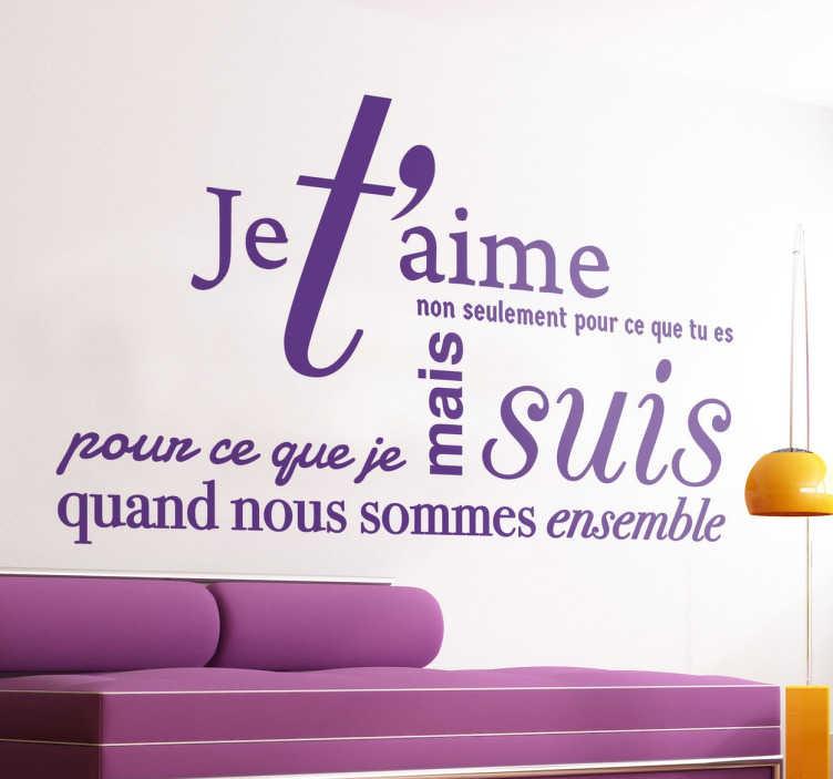 Sticker Texte Je Taime TenStickers