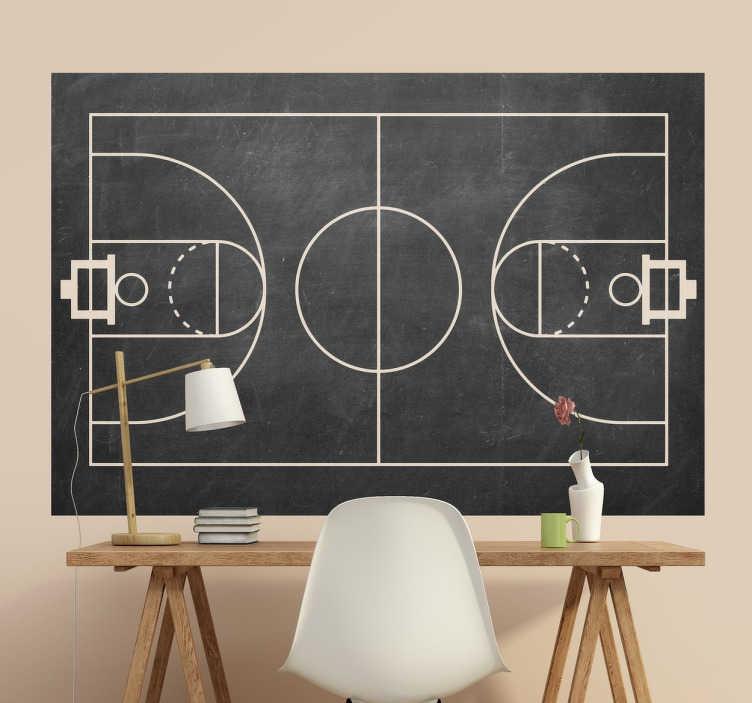 Basketball Court Chalkboard Sticker TenStickers