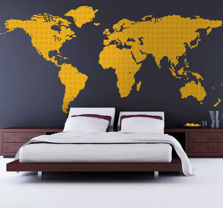 Yellow World Map Wall Sticker TenStickers