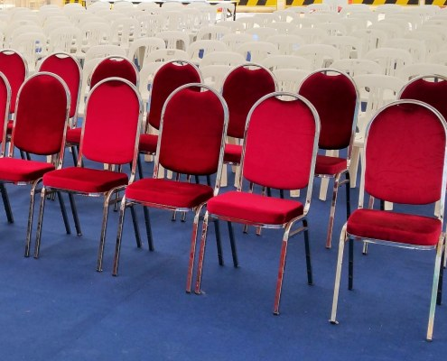 Red cushion chairs with stainless steel frame