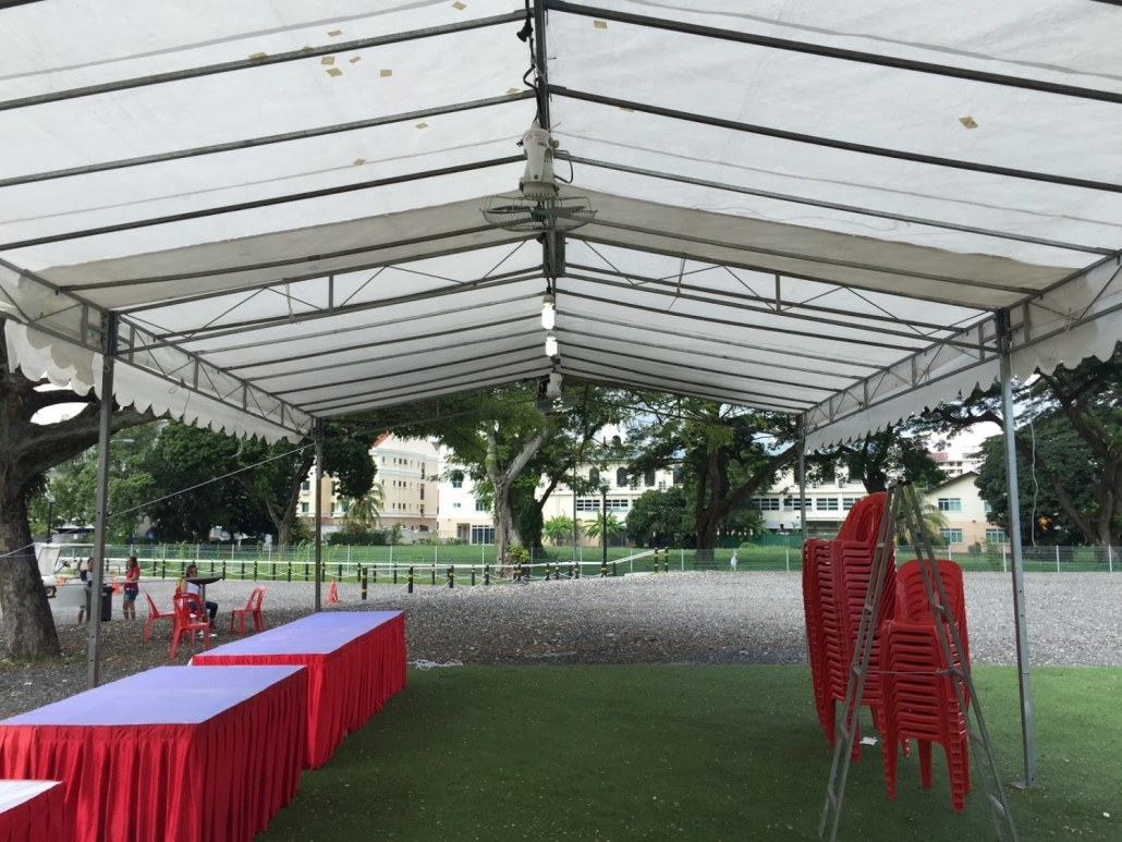 table chairs and tentage for company retreat