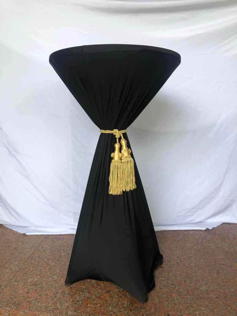 cocktail table with spandex cloth with tassel