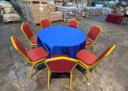 4ft round table with royal blue table cloth