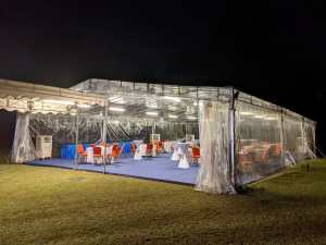 Transparent a shape tent with carpet and flooring