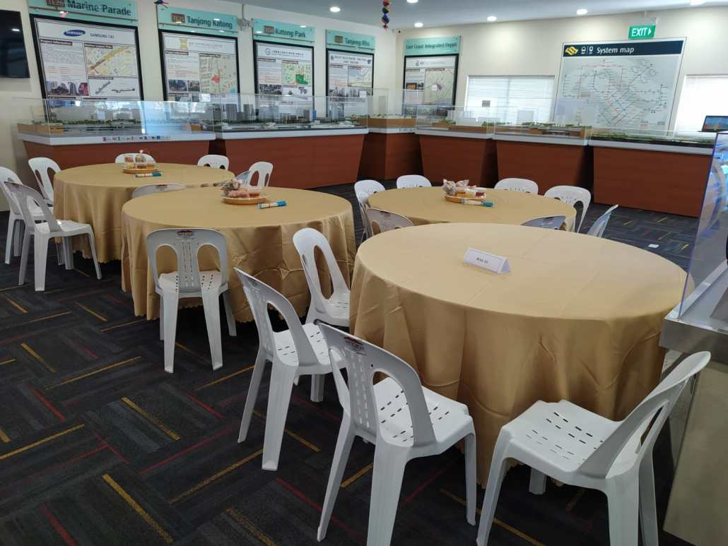 PVC chairs and 5ft round table with champagne table cloth