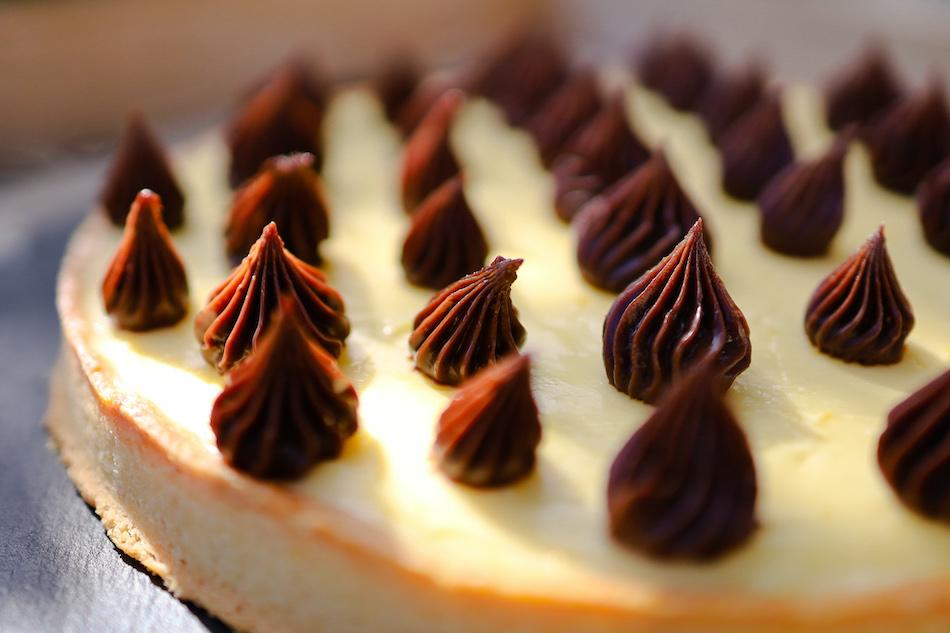 Zoom sur la tarte noisette citron gianduja