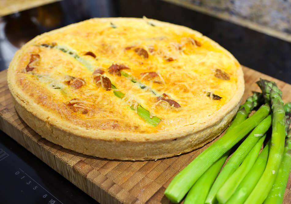 Tarte aux asperges jambon parmesan chorizo