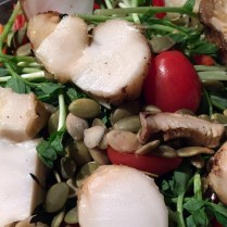 """Another ended up as a garnish on a salad of mixed """"super greens"""" and pea shoots."""