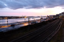 Sunset over the site of new buildings soon to rise on our river front.